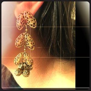 Bronzy gold pierced vintage evening wear earrings